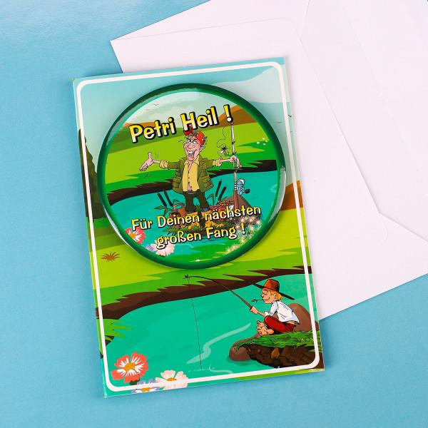 Glückwunschkarte mit Button für Angler