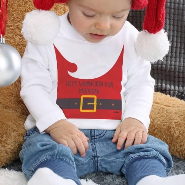 Babypullover Weihnachtsmannoutfit mit Ihrem Wunschtext