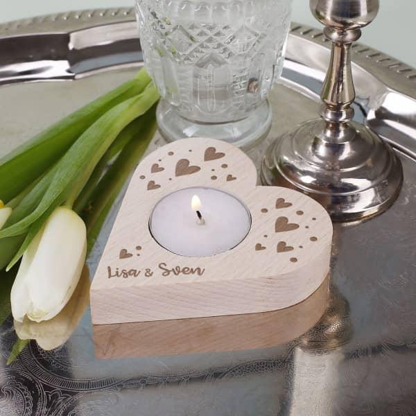 Nützlichdekoration - Herz Teelichthalter mit Namensgravur zum Valentinstag - Onlineshop Geschenke online.de