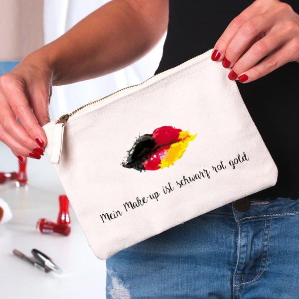 Beautycase mit Deutschland Kussmund und Wunschtext