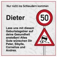 Verkehrszeichen Bieraufkleber zum Geburtstag mit Wunschname, Alter und Text