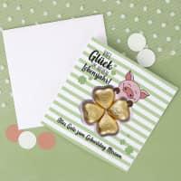 Viel Glück - Geburtstagskarte mit Schoko-Kleeblatt und Ihrem Wunschnamen