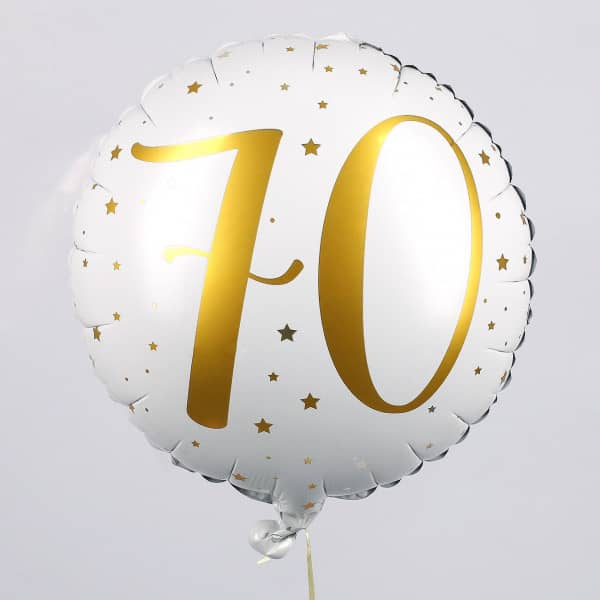 Folienballon zum 70. Geburtstag in weiß