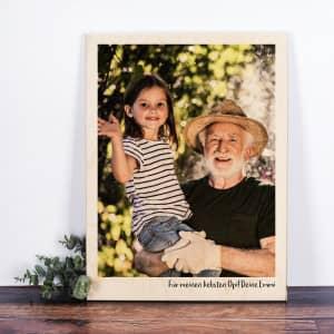 Holzbild mit Foto und Text
