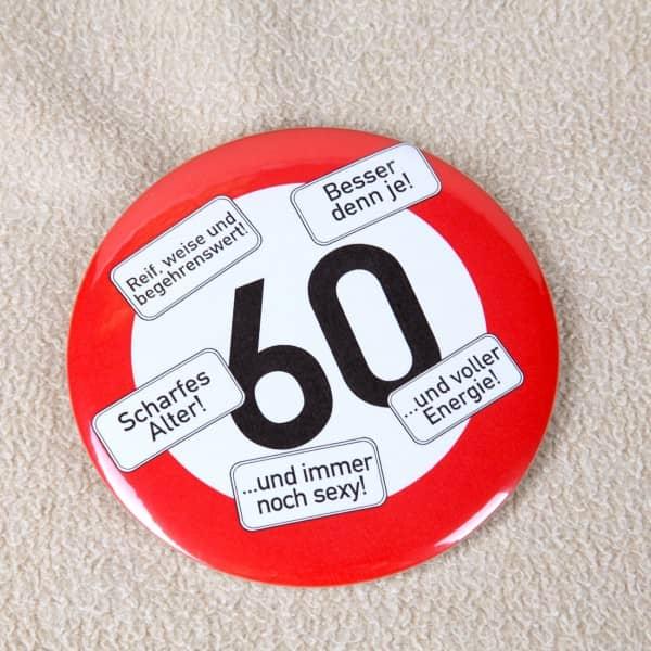 Riesen-Button Verkehrsschild 60