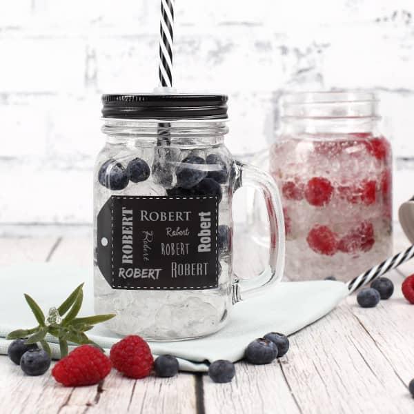Mason Jar Trinkglas in schwarz mit Ihrem Wunschnamen graviert
