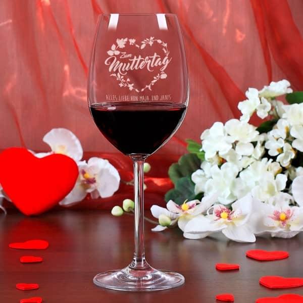 Weinglas zum Muttertag mit Wunschtext