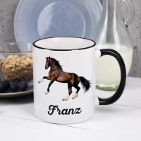 Pferde Tasse mit Clydesdale und Name