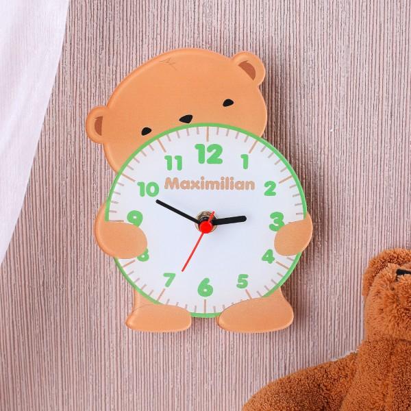 Acryluhr für Kinder als Teddybär mit Wunschnamen