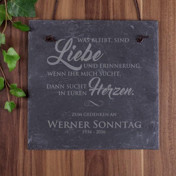 Gedenktafel Schiefer mit Name und Datum graviert