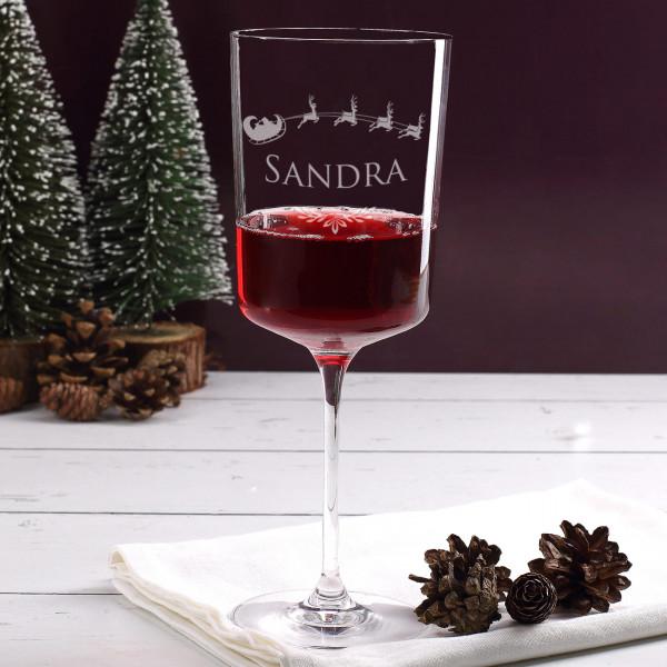 Winterliches Weinglas mit Namensgravur