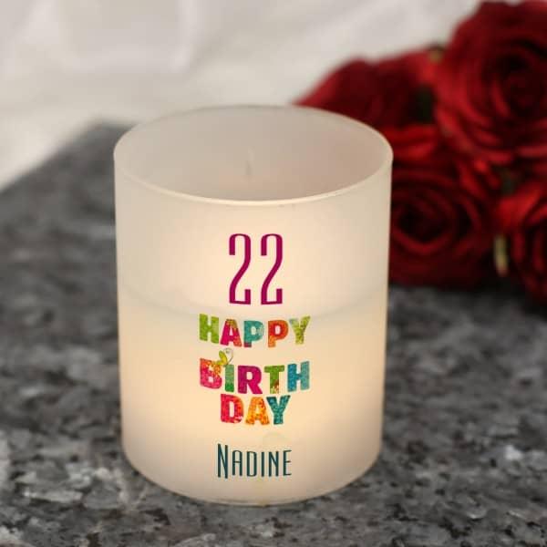 LED Windlicht mit Echtwachskerze und Geburtstagsmotiv