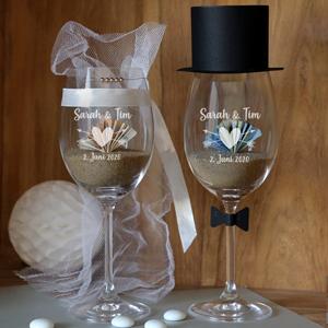 Weinglas zur Hochzeit Geldgeschenk Brautpaar