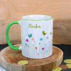Bunte Tasse mit Frühlingsmotiv
