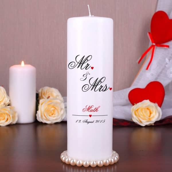 Kerze zur Hochzeit mit Mr und Mrs Motiv