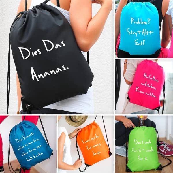 Farbiger Rucksack mit persönlichem Wunschtext