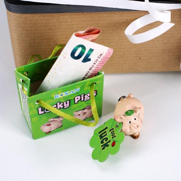 Glücksschwein mit Hufeisen in Geschenktüte