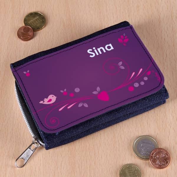 Geldbörse für Mädchen mit Name und beerig starkem Design