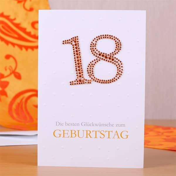 geburtstagskarte zum 18 geburtstag mit strass geschenke. Black Bedroom Furniture Sets. Home Design Ideas