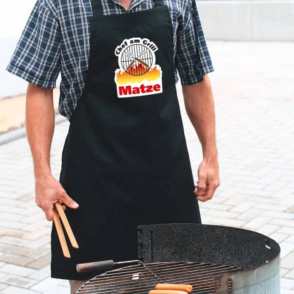 Grillschürze mit Wunschname Chef am Grill