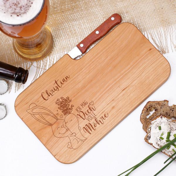 Schneidebrett mit integriertem Messer, Oster Motiv und Name nach Wunsch als Gravur