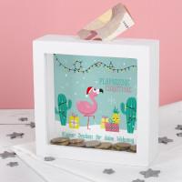 Weihnachtliche Flamingo Spardose mit Wunschname