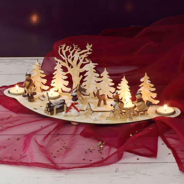 Nützlichdekoration - Teelichthalter Winterszene mit 4 Teelichthaltern - Onlineshop Geschenke online.de