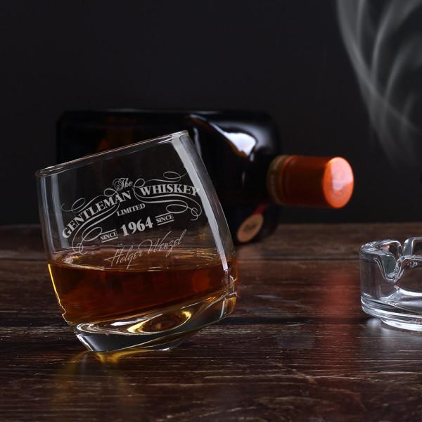 Rocking Whiskyglas mit Gravur Ihres Wunschnamens und Jahr im edlen Whisky-Design