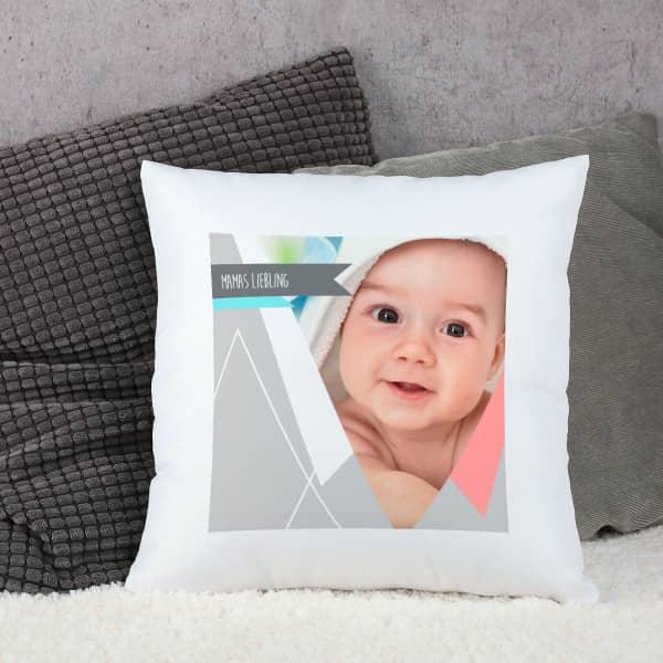Modernes Kissen mit Wunschtext und Wunschfoto