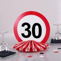 Tischdeko zum 30. Geburtstag - Wabenaufsteller