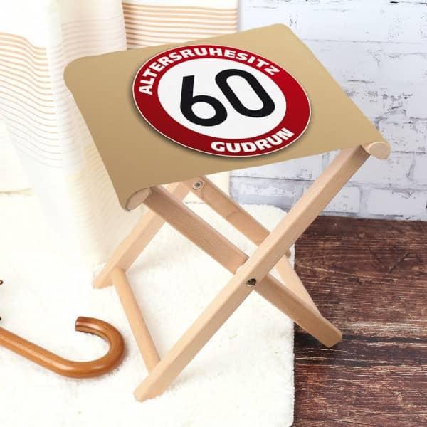 Klapphocker mit Namen zum 60. Geburtstag