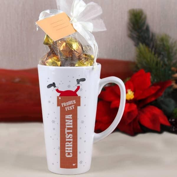 Geniessertasse Weihnachtsmann mit Name und Schokoladenfüllung