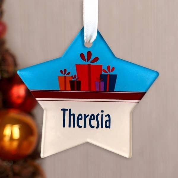 Acrylanhänger mit Weihnachtsmotiv und Vorname