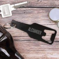 Schwarzer Flaschenöffner Schlüsselanhänger mit Name