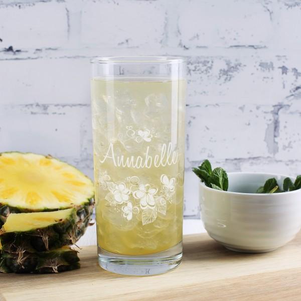 Trinkglas - Blütenmotiv mit Namensgravur