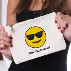 Beautycase mit coolem Emoticon und Ihrem Wunschtext