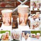 10 Pappbecher in  rose mit Glitzereffekt zum Geburtstag