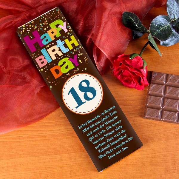 Riesige Schokolade Happy Birthday mit langem Glückwunschtext