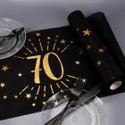 Tischläufer aus Vlies zum 70. Geburtstag - schwarz/gold