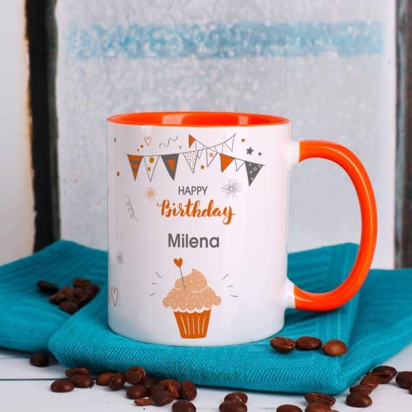 Orange Geburtstagstasse mit Namensaufdruck