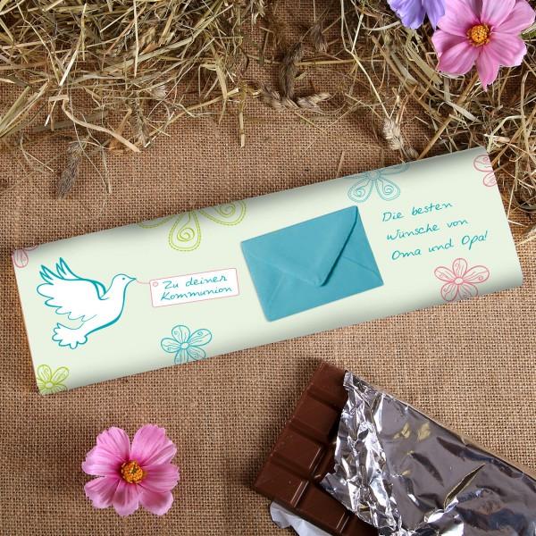 XXL Schokolade mit niedlichem Motiv und Umschlag für Geld als geschenk zur Kommunion