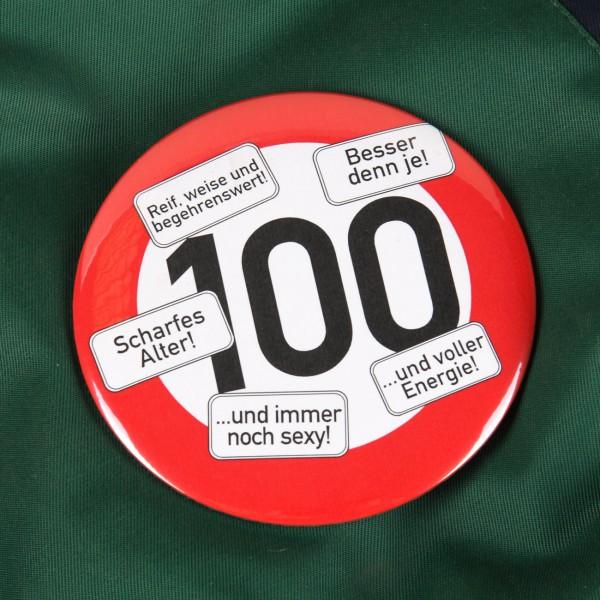 XXL Button Verkehrsschild 100