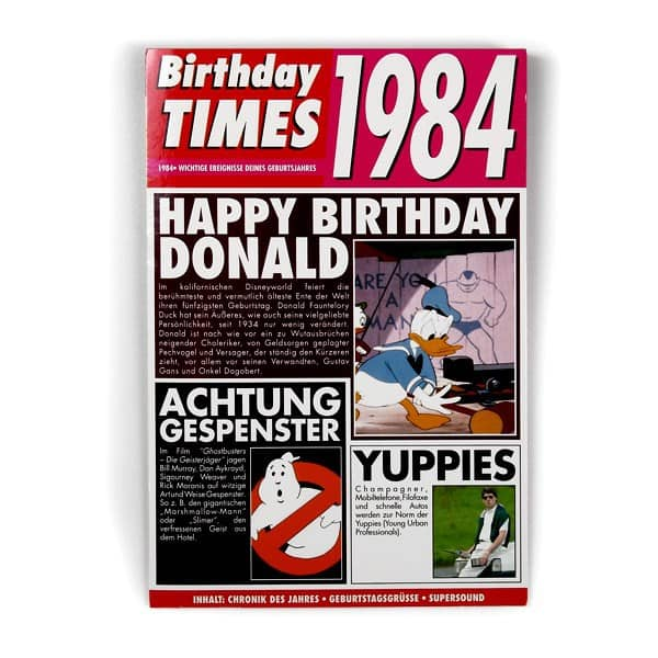 Birthday Times Karte mit Sound 1984