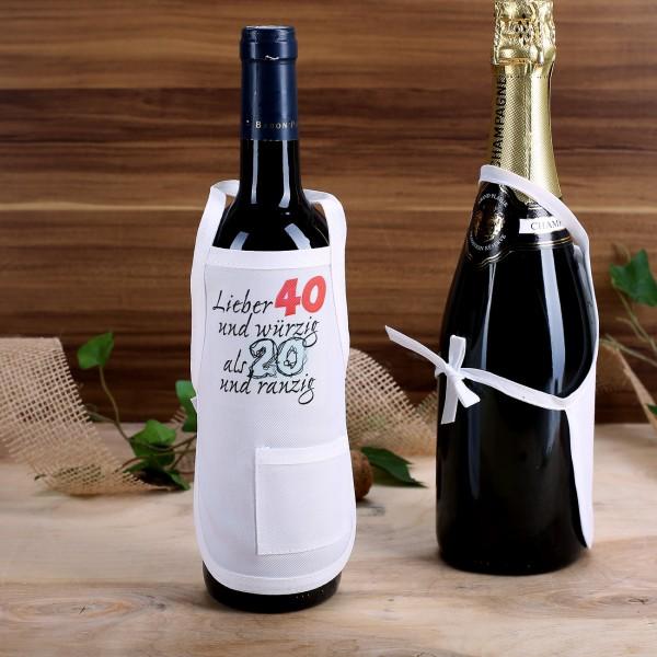 eine kleine sch rze in wei zum verzieren von flaschen zum 40 geburtstag. Black Bedroom Furniture Sets. Home Design Ideas