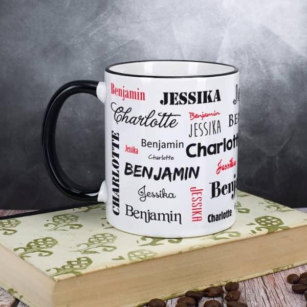 Tasse mit drei Namen, schwarz
