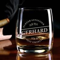 graviertes Whiskeyglas Echter Geniesser mit Name von Bohemia Cristal