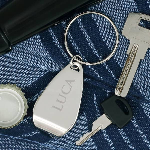 gravierter Flaschenöffner Schlüsselanhänger