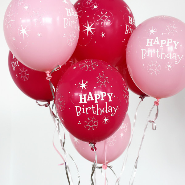 25 Ballons ''Happy Birthday'' in Pink
