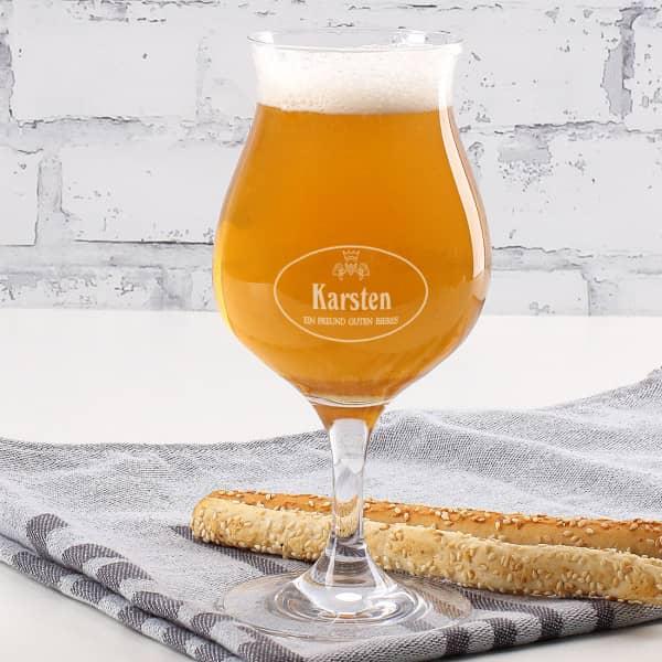 Craft-Beer Glas mit Ihrem Namen und Spruch eingraviert