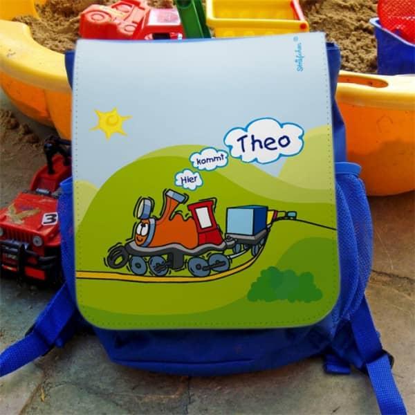 blauer Kinderrucksack mit Dampflokmotiv und Wunschname